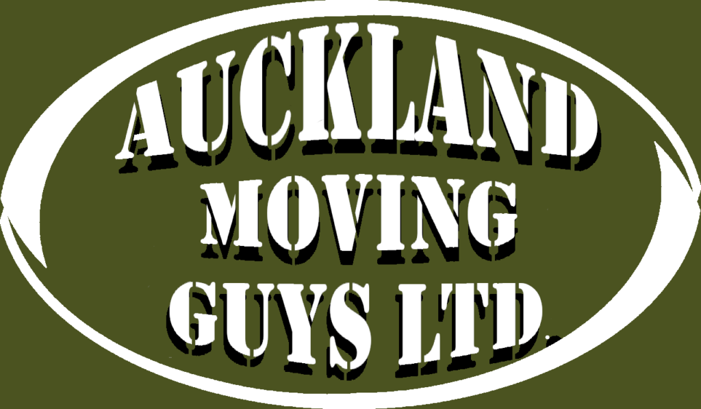 A rugby ball shaped 3d logo that says Auckland moving guys green background with white writing and a drop shadow under text